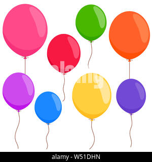 Bunte Luftballons auf weißem Hintergrund. - Stockfoto