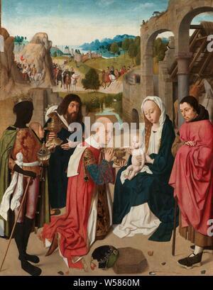 Die Anbetung der Könige, die Anbetung der Heiligen Drei Könige. Auf der rechten Seite die Heilige Familie vor dem Stall in eine Ruine. Auf der linken Seite die drei Könige mit ihren Gaben. In der Landschaft im Hintergrund die Ankunft der drei Könige Anbetung der Könige: die Weisen ihre Geschenke zu den gegenwärtigen Christus - Kind (Gold, Weihrauch und Myrrhe), die Ankunft der drei Weisen in Bethlehem, Geertgen Tot Sint Jans, Haarlem, C. 1480 - C. 1485, Panel, Ölfarbe (Lack), Support: h 91,6 cm x W 71,8 cm lackierte Oberfläche: h 89,2 cm x W 69,2 cm - Stockfoto