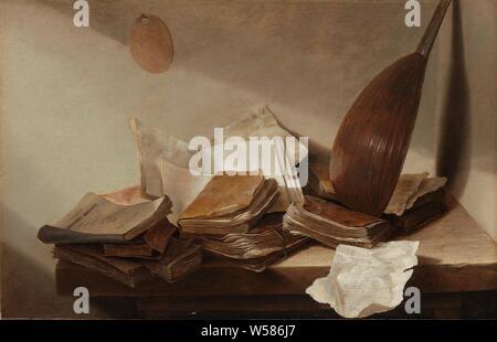 """Noch immer leben mit Büchern, noch Leben: es gibt diverse Bücher und Papiere auf einen hölzernen Tisch in der Ecke eines Zimmers. Eine laute ist an die Wand gelehnt in der Ecke, """"Vanitas"""" immer noch Leben, Buch, laute und besondere Formen der Laute, z.b.: Theorbe, Jan Davidsz. de Heem, 1625-1630, Panel, Ölfarbe (Lack), h 26,5 cm x W 41,5 cm d 5,5 cm - Stockfoto"""