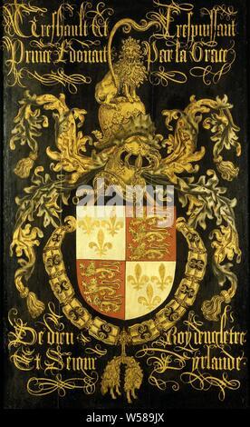 Schild von Edward IV (1442-83), König von England, in seiner Eigenschaft als Ritter des Ordens vom Goldenen Vlies, Wappen der Eduard IV (1442-83), in seinem als Ritter des Ordens vom Goldenen Vlies. Aus dem Chor der Sint Jan in Den Bosch und dort platziert in der Holding der Kapitel in der 1481 von Maximilian von Österreich. Teil der Sammlung der heraldischen Objekte, Orden Orden vom Goldenen Vlies, Wappen (als Symbol des Staates usw.), England, Eduard IV. von York (König von England), der Orden vom Goldenen Vlies, Pierre Coustain (zugeschrieben), C. 1481, Panel, Ölfarbe (Lack - Stockfoto