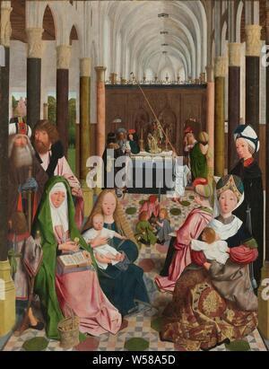 """Die Heilige Sippe, Innenraum der Kirche mit dem heiligen Jungfräulichkeit, alle Verwandten von Christus. Auf der linken Seite der Hl. Anna, neben ihr Maria mit dem Christuskind. Joachim und Josef stehen hinter Ihnen. Auf der rechten Seite Elisabeth mit Johannes dem Täufer als Kind, hier auch Maria Salome und Maria Cleophas. Auf dem Altar sind Zebedeüs Alpheüs, und Zacharias. Die Jünger spielen vor dem Altar, als Kinder, Simon, Jakobus und Johannes. Judas Thaddeüs leuchtet eine Kerze vor dem Altar vor dem Altar. Auf dem Altar ist eine Gruppe von Statuen von Abrahams Opfer, erweiterte Darstellungen der """"Anna selbdritt"""" - Stockfoto"""