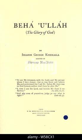 Behá'u'lláh (die Herrlichkeit Gottes): Kheiralla, Ibrahim George, 1849 - Stockfoto