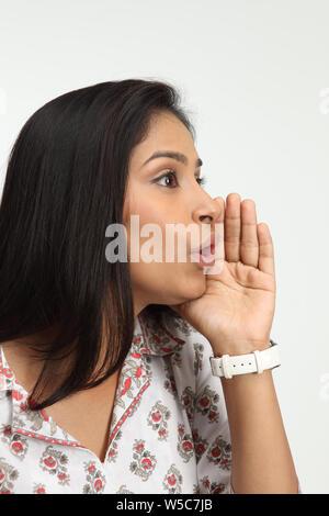 Frau, Flüstern - Stockfoto
