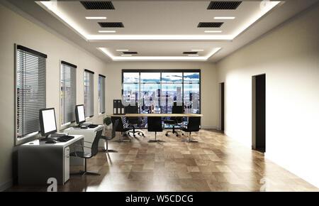Office Business - schöne Tagungsraum und Konferenztisch, modernen Stil. 3D-Rendering