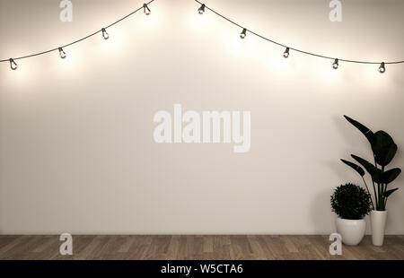 Mock up Poster Kabinett Modern im Wohnzimmer mit weißem Holzfußboden. 3D-Rendering - Stockfoto