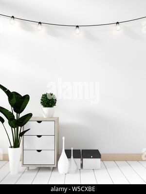 Mock up modern in Weiß mit weißem Holzfußboden. 3D-Rendering - Stockfoto