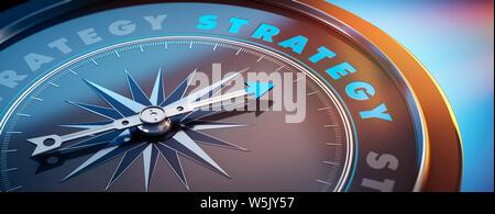 Dunkle Kompass mit Nadel nach dem Wort Strategie - 3D-Darstellung - Stockfoto
