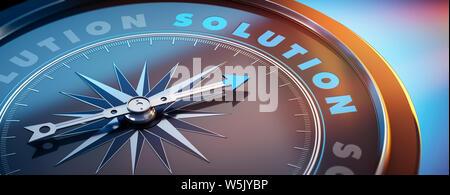 Dunkle Kompass mit Nadel nach dem Wort Lösung - 3D-Darstellung - Stockfoto