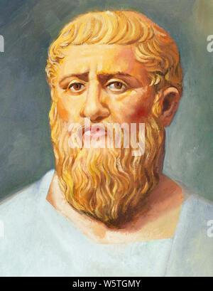 Platon (428 v. Chr. -348/347 BC). Griechischer Philosoph, Schüler des Sokrates. Der Gründer der Akademie. Aquarell. - Stockfoto