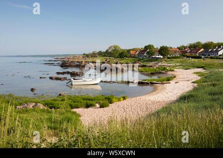 Blick auf weißen Sand Strand, Allinge, Bornholm, Insel, Ostsee, Dänemark, Europa