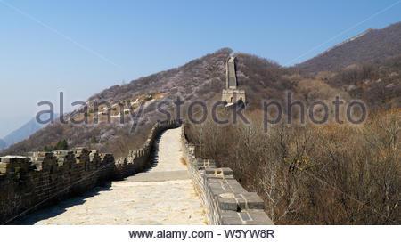 Ansicht des Welterbes Sicht Die große Mauer von China, Abschnitt Mutianyu, Originalteil, China - Stockfoto