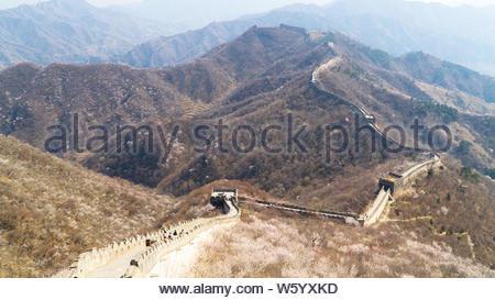 Ansicht des Welterbes Sicht Die große Mauer von China, Abschnitt Mutianyu, rekonstruierten Teil, China - Stockfoto