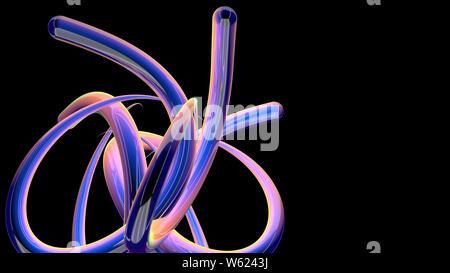 5 Dick blau, rosa, gelbe und grüne Linien in Bewegung mit interlaced reflektierende Oberfläche erstellen eines Knoten auf einem schwarzen Hintergrund. 3D-Darstellung - Stockfoto