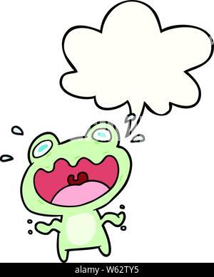 Cute cartoon Frosch mit Sprechblase Angst - Stockfoto