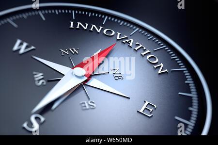 Dunkle Kompass mit roten Nadel in das Wort Innovation zeigen - 3D-Darstellung - Stockfoto
