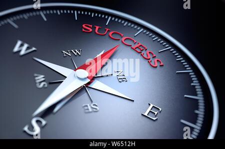 Dunkle Kompass mit roten Nadel in das Wort Erfolg - 3D-Illustration zeigen - Stockfoto
