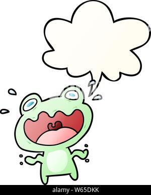 Cute cartoon Frosch mit Sprechblase in glatten Farbverlauf Angst - Stockfoto