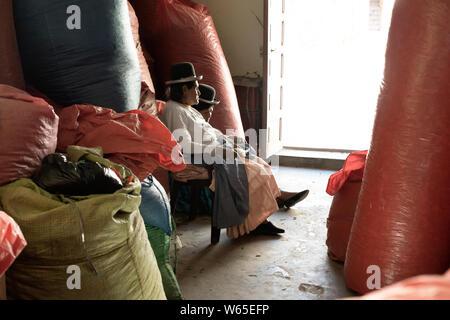 Oktober 14, 2012-Sud Yungas, Bolivien: Zwei indigene Frauen Surraunded mit einem großen Sack voller Coca Blätter an die Kokablätter Depot in Chulumani, Boliv - Stockfoto