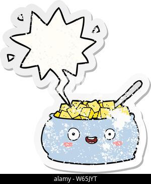 Cute cartoon Schüssel mit Zucker mit Sprechblase distressed Distressed alte Aufkleber - Stockfoto