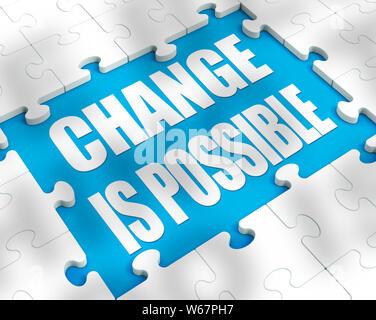 Veränderung ist möglich Konzept bedeutet denken positiv mit neuen Gewohnheiten. Verbesserte Fortschritt und bessere Ergebnisse - ein 3D-Bild - Stockfoto