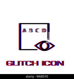 Auge Symbol test Flachbild. Einfache Piktogramm-Glitch Wirkung. Vector illustration symbol - Stockfoto