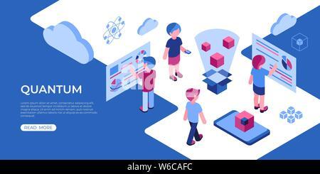 Künstliche Quantum computing Technologie isometrische 3D-Symbole Infografiken mit Menschen, digitale Vektor advert Infografiken - Stockfoto