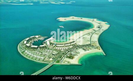 Eine Luftaufnahme der Daria Insel in Dubai, Vereinigte Arabische Emirate, 2. April 2018. Dubai, die größte Stadt des Gulf State Vereinigte Arabische Emirate (VAE - Stockfoto