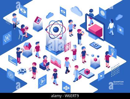 Künstliche Quantum Computing und qubits Technologie isometrische 3D-Symbole Infografiken mit Menschen gesetzt, digitale Vektor advert Infografiken - Stockfoto