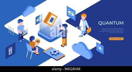 Künstliche Quantum Computing und qubits Technologie isometrische 3D-Symbole Infografiken mit Menschen, digitale Vektor advert Infografiken - Stockfoto