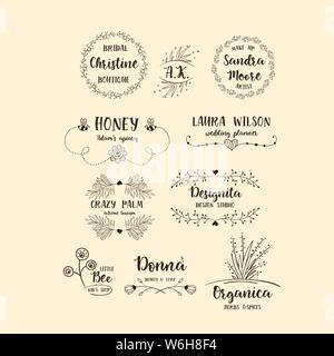 Vektor einrichten von handdrawn floral Logos. Feder Sammlung mit typografische Gestaltung Elemente dargestellt. - Stockfoto