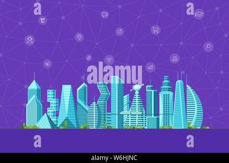Zukunft smart city Konzept. Urbane Stadtbild zeitgenössisches Hochhaus Gebäude mit infografik social media Internet communication network Icons. Futur - Stockfoto