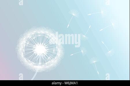 Weiß Löwenzahn von Wind auf Pastell Farbverlauf Hintergrund geblasen. Vector Illustration. - Stockfoto