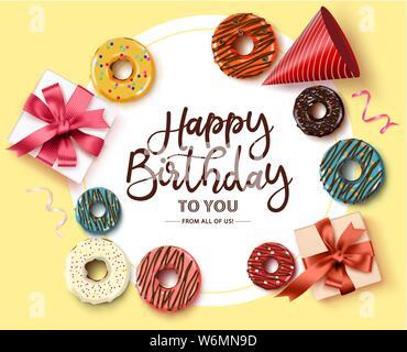 Alles Gute zum Geburtstag Greeting Card vektor Vorlage. Alles Gute zum Geburtstag Text im Kreis Rahmen mit weißer Raum für Meldung und bunte party Elemente wie Krapfen - Stockfoto