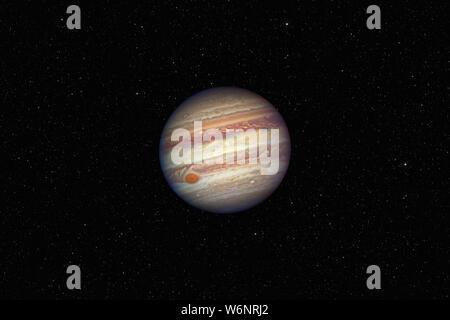 Planet Jupiter gegen dunkle Sternenhimmel Hintergrund im Sonnensystem, Elemente dieses Bild von der NASA eingerichtet - Stockfoto