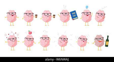 Gehirn Emotionen cute Cartoon Character Set. Bildung und Wissen. Menschlichen Zentralnervensystems gesunden und kranken Organ lustige Sammlung. Vecto - Stockfoto