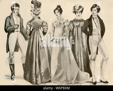 """""""Kleidung von 1812-1828"""", 1907, (1937). Von """"Geschichte der amerikanischen Kostüm - Buchen Sie eine 1607-1800"""", von Elisabeth McClellan. [Tudor Publishing Company, New York, 1937] - Stockfoto"""