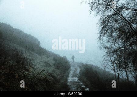 Die Silhouette eines Menschen zu Fuß auf dem Weg in die Landschaft, auf einem gruseligen nebligen Wintertag. Mit einem Grunge, vintage Stummgeschaltet bearbeiten. - Stockfoto