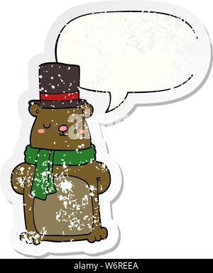 Cartoon bear mit Sprechblase distressed Distressed alte Aufkleber - Stockfoto