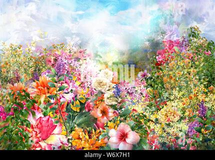 Abstrakte Aquarell Blumen. Bunte Frühlingsblumen Stockfoto