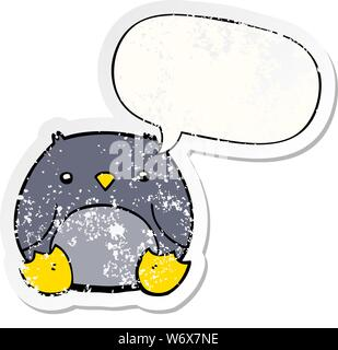 Cartoon penguin mit Sprechblase distressed Distressed alte Aufkleber - Stockfoto