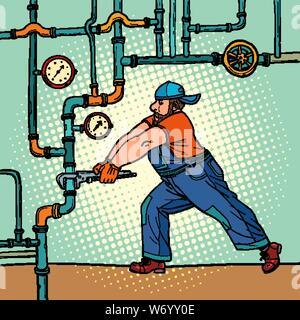 Klempner Reparaturen Rohre. Pop Art retro Vektor illustration Zeichnung - Stockfoto