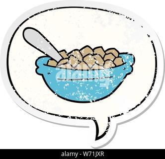 Cartoon Müsli Schale mit Sprechblase distressed Distressed alte Aufkleber - Stockfoto