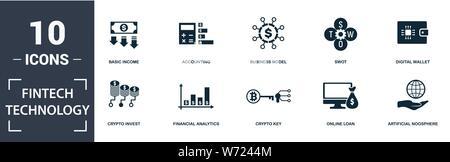 Fintech Technologie Icon Set. Gefüllt flachbild Grundeinkommen, Financial Analytics, online kredit, künstliche Noosphäre, Geschäftsmodell, SWOT, Crypto ke - Stockfoto