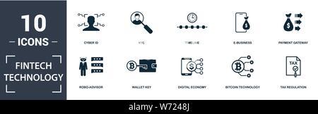 Fintech Technologie Icon Set. Gefüllt Flachbild robo-Berater, Steuer- Verordnung, Kyc, Payment Gateway, digitale Wirtschaft, e-business Icons. Editierbare forma - Stockfoto