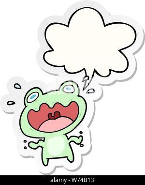 Cute cartoon Frosch mit Sprechblase Aufkleber Angst - Stockfoto
