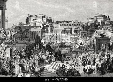 Verfolgung der Christen im römischen Reich, den Wiederaufbau des Forum Romanum im alten Rom - Stockfoto