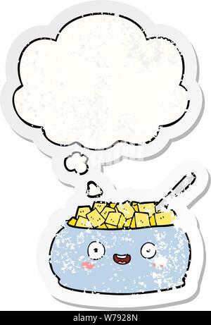 Cute cartoon Schüssel mit Zucker mit dachte Bubble als Distressed getragen Aufkleber - Stockfoto