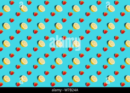 Obst Muster. Bunte frische Zitrone Textur Schichten auf braunem Hintergrund. Von oben gesehen. - Stockfoto