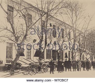 Die Verzierung weiße Kaserne in Witebsk von Malewitsch und Studenten der Kunstschule, 1919. - Stockfoto