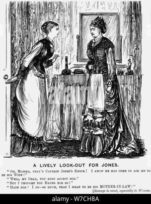 """""""Eine lebendige Look-Out für Jones', 1876. Artist: George Du Maurier - Stockfoto"""